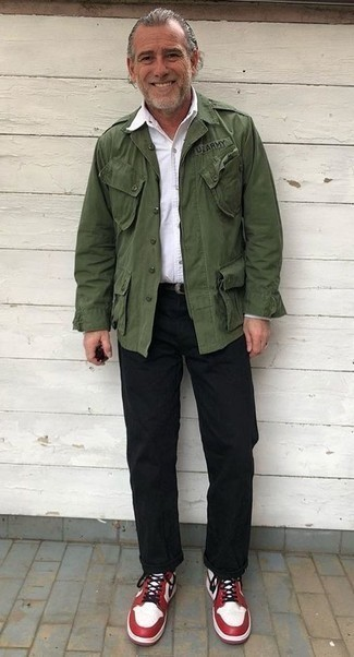 How to Wear White and Red Low Top Sneakers For Men: Combining a dark green military jacket with black chinos is a smart choice for a relaxed casual but sharp outfit. Why not take a more relaxed approach with footwear and introduce white and red low top sneakers to the mix?