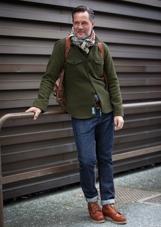 Who said you can't make a style statement with a casual ensemble? Draw the attention in an olive military jacket and Levi's men's 511 Slim Fit Jeans. Tobacco leather high top sneakers will add a new dimension to an otherwise classic look. This ensemble is great for unpredictable fall weather.