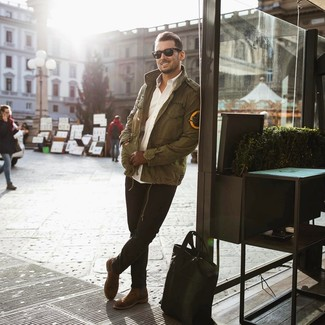 How to wear: olive military jacket, white long sleeve shirt, black jeans, brown suede chelsea boots