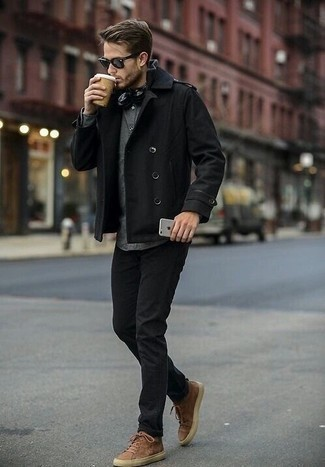 Black Military Jacket Outfits For Men: This casual combo of a black military jacket and black jeans is very easy to throw together without a second thought, helping you look awesome and ready for anything without spending a ton of time searching through your wardrobe. To give your overall getup a more relaxed finish, why not complete this ensemble with brown suede low top sneakers?
