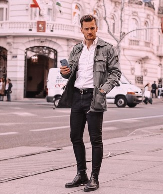 How to wear: olive military jacket, white long sleeve shirt, black skinny jeans, black leather chelsea boots