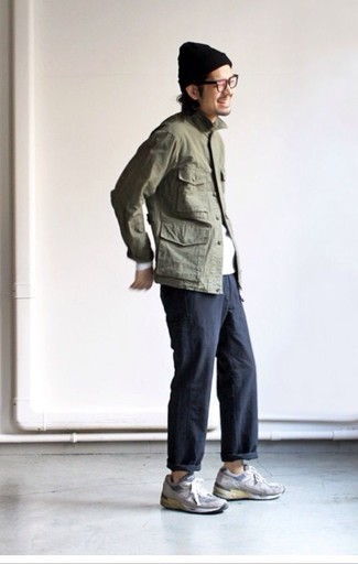 How to wear: olive military jacket, white long sleeve t-shirt, black chinos, grey suede athletic shoes