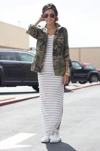 Women's Olive Camouflage Military Jacket, White and Navy Horizontal Striped Maxi Dress, White High Top Sneakers, Black Sunglasses