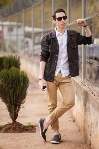 Men's Dark Brown Military Jacket, White Short Sleeve Shirt, Khaki Chinos, Dark Brown Leather Slip-on Sneakers
