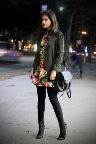 If you're a jeans-and-a-tee kind of gal, you'll like the simple combo of a Tu Es Mon Tresor Tulle Flower Military Jacket and a black floral skater dress. Throw in a pair of black leather ankle boots to instantly up the chic factor of any outfit. This one will play especially nice when spring arrives.