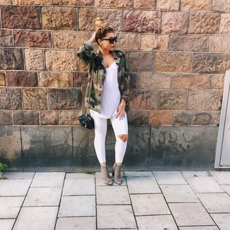 How to wear: olive camouflage military jacket, white sleeveless top, white ripped skinny jeans, grey cutout suede ankle boots