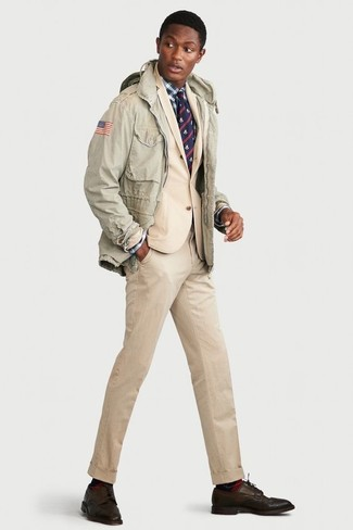 How to wear: mint military jacket, beige suit, white and navy plaid dress shirt, dark brown leather derby shoes