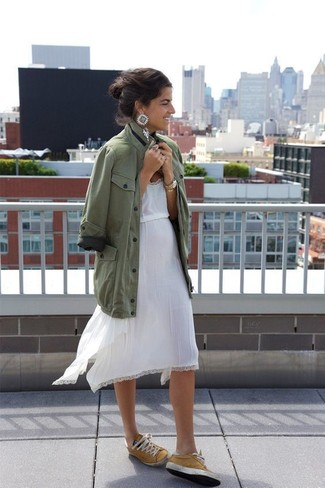 How to Wear Clear Earrings: An olive military jacket and clear earrings are the kind of a foolproof off-duty getup that you need when you have no extra time. Here's how to dial it up: mustard low top sneakers.