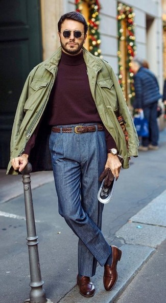 a6f1e7aed How to wear: olive military jacket, burgundy turtleneck, navy dress pants,  brown
