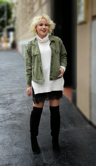How to wear: olive military jacket, white turtleneck, black lace mini skirt, black suede knee high boots