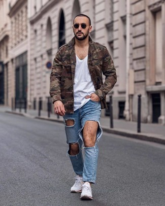 How to wear: brown camouflage military jacket, white v-neck t-shirt, light blue ripped jeans, white athletic shoes