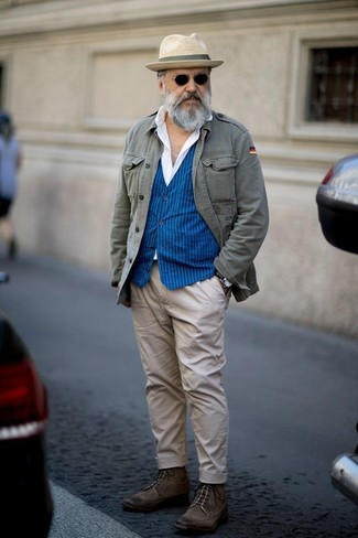 How to wear: grey military jacket, blue vertical striped waistcoat, white dress shirt, beige chinos