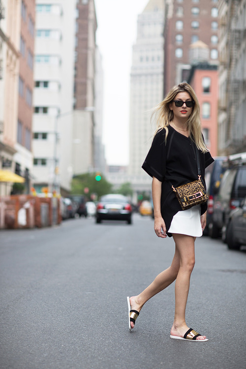 Women S White Mini Skirt Black And Gold Suede Flat