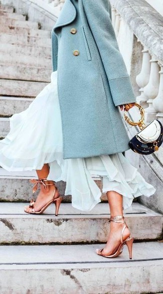 How to wear: mint coat, mint chiffon maxi dress, gold leather heeled sandals, black and white leather clutch