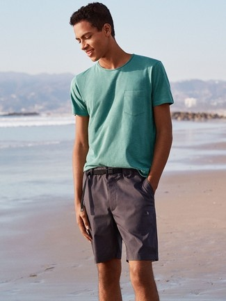How to wear: mint crew-neck t-shirt, charcoal shorts, black canvas belt