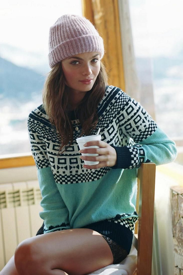 Women's Mint Fair Isle Crew-neck Sweater, Black Denim Shorts, Pink ...