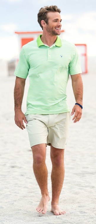How to wear: mint horizontal striped polo, beige shorts, navy bracelet