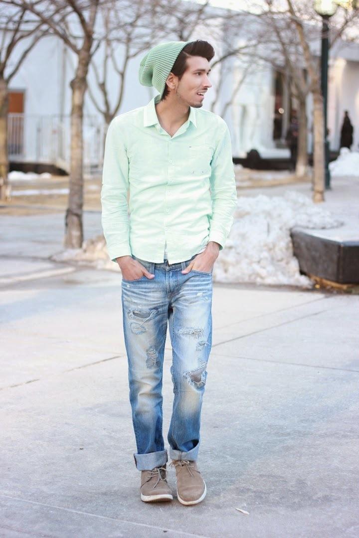 men 39 s mint long sleeve shirt blue jeans grey suede desert boots mint beanie men 39 s fashion. Black Bedroom Furniture Sets. Home Design Ideas