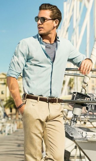 How to wear: mint long sleeve shirt, white and navy horizontal striped crew-neck t-shirt, khaki chinos, dark brown leather belt