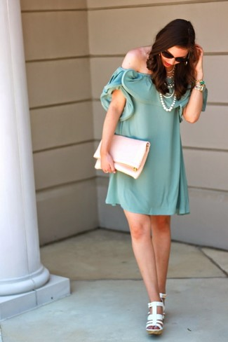 Women's Mint Off Shoulder Dress, White Leather Wedge Sandals, White Leather Clutch, White Pearl Necklace