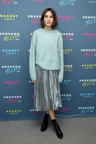 27beda7e8 ... Alexa Chung wearing Mint Oversized Sweater, Silver Pleated Midi Skirt,  Black Leather Ankle Boots