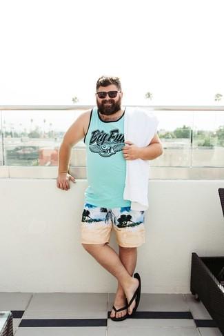 Mid Length Printed Swim Shorts