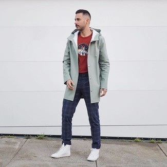 How to wear: mint raincoat, burgundy print crew-neck sweater, navy plaid chinos, white high top sneakers