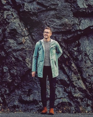 How to wear: mint raincoat, grey crew-neck sweater, black chinos, tobacco suede chelsea boots
