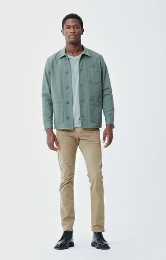 Men's Looks & Outfits: What To Wear In 2020: This semi-casual combination of a mint shirt jacket and khaki chinos is super easy to throw together without a second thought, helping you look dapper and ready for anything without spending a ton of time combing through your wardrobe. Black leather casual boots are a wonderful pick to complement this outfit.
