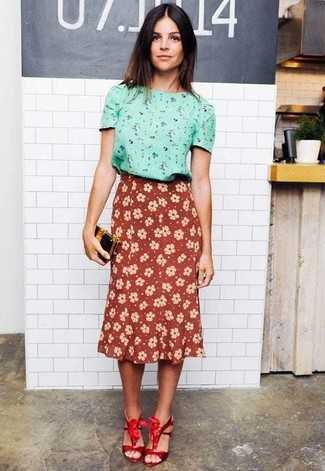 Women's Mint Floral Short Sleeve Blouse, Burgundy Floral Midi Skirt, Red Satin Heeled Sandals, Black and Gold Leather Clutch