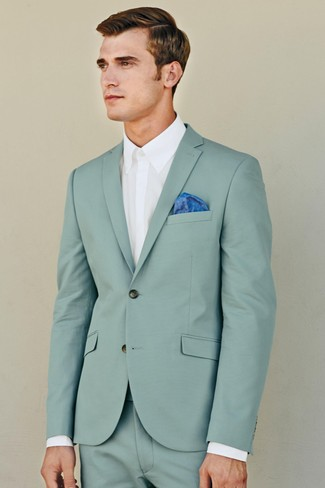 How to Wear a Mint Suit: For a look that's sophisticated and envy-worthy, go for a mint suit and a white dress shirt.