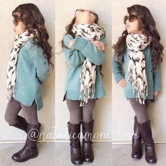 How to wear: mint sweater, brown leggings, dark brown boots, white scarf