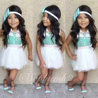 How to wear: mint tank top, white tulle skirt, mint sandals