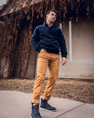 Light Blue Socks Outfits For Men: For comfort dressing with a contemporary take, you can rely on a navy fleece mock-neck sweater and light blue socks. Make your outfit a bit more elegant by finishing with a pair of navy canvas casual boots.