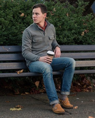 Dress Shoes Outfits For Men: This combination of a grey mock-neck sweater and blue jeans is a goofproof option when you need to look stylish in a flash. Make dress shoes your footwear choice to easily amp up the wow factor of any outfit.