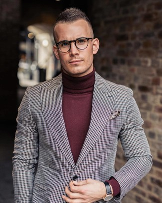 How to wear: multi colored houndstooth blazer, burgundy turtleneck, burgundy paisley pocket square, black leather watch