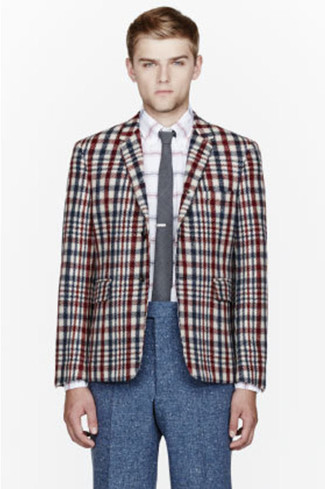 How to wear: multi colored plaid blazer, white long sleeve shirt, navy wool dress pants, grey tie