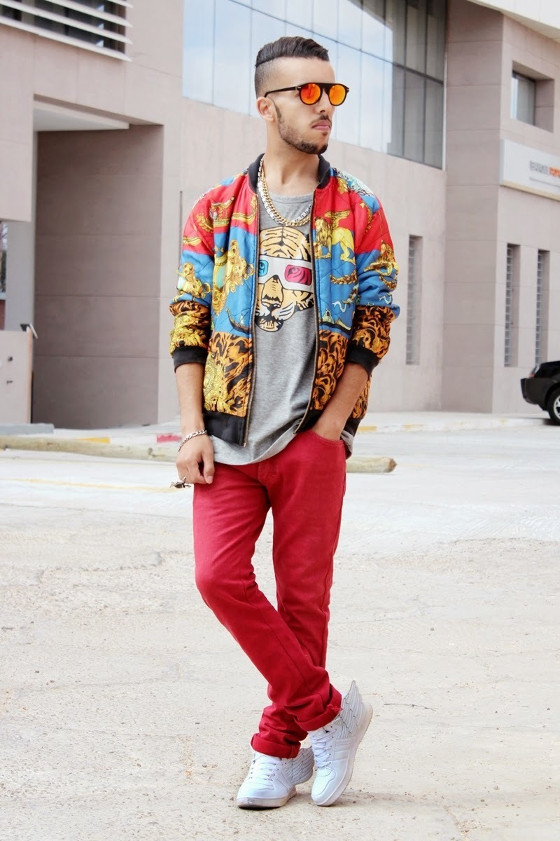 How to Wear a Multi colored Bomber Jacket (2 looks) | Men's Fashion