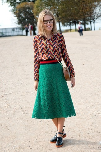 How to wear: multi colored chevron dress shirt, green lace midi skirt, black leather loafers, brown leather crossbody bag