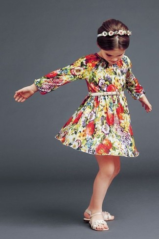 How to wear: multi colored floral dress, beige sandals, white headband