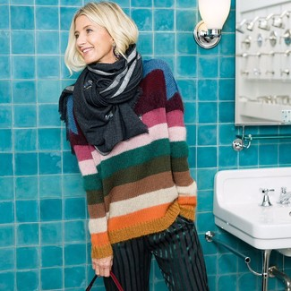 How to wear: multi colored horizontal striped crew-neck sweater, charcoal vertical striped wide leg pants, charcoal scarf