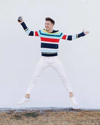 How to wear: multi colored horizontal striped crew-neck sweater, white jeans, white leather low top sneakers