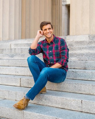 How to wear: multi colored plaid long sleeve shirt, blue jeans, tan leather desert boots, navy and white horizontal striped socks