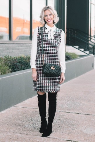 How to wear: multi colored tweed overall dress, white long sleeve blouse, black suede over the knee boots, black quilted leather crossbody bag