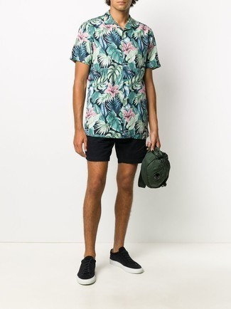 Men's Outfits 2021: Choose a multi colored floral short sleeve shirt and black shorts to pull together an everyday outfit that's full of charisma and character. Black suede low top sneakers are the ideal companion to your outfit.