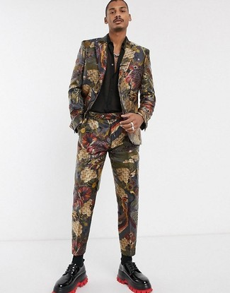 How to wear: multi colored brocade suit, black silk long sleeve shirt, black leather derby shoes, black socks