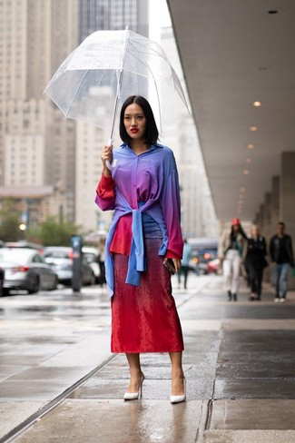 How to wear: multi colored tie-dye dress shirt, red tie-dye midi skirt, white leather pumps