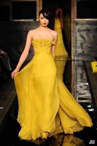 Mustard Yellow Evening Dress