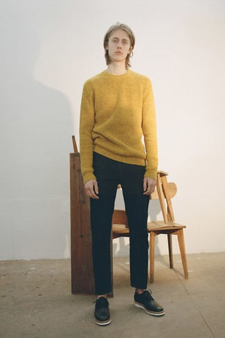 How to wear: mustard crew-neck sweater, black jeans, black leather oxford shoes