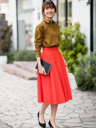 How to Wear a Red Pleated Midi Skirt: You'll be amazed at how easy it is to get dressed this way. Just a mustard dress shirt and a red pleated midi skirt. As for footwear, introduce a pair of black suede pumps to this look.